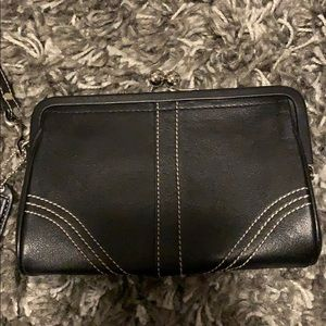 Black leather silver hardware coach wristlet